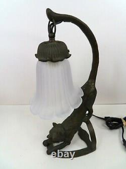 Lampe De Chat En Métal Noir De Style Art Déco Avec Des Yeux Verts Clairs Finition Bronze