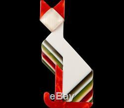 Lea Stein Paris Figural Géométrique Art Déco Blanc De Chat Égyptien Animaux Broche
