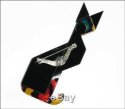 Lea Stein Paris Figural Géométrique Art Déco Noir Rouge Égyptien Chat Pet Broche