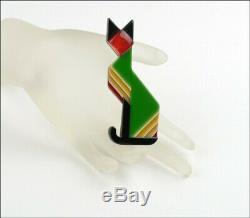 Lea Stein Paris Figural Géométrique Art Déco Vert Broche Chat Égyptien Pin Nouveau