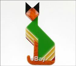 Lea Stein Paris Figural Géométrique Art Déco Vert Orange Égyptien Broche Cat Pin