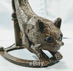 Lead Style Art Déco Lampe Crouching Cat Avec Style Tiffany Vitrail Plombé