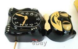 Les Armes 1950-allied-black-kit Cat Klock-kat Clock-electric-vintage-original-works
