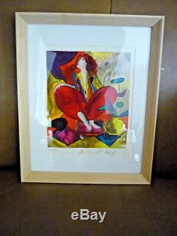 Linda Lekinff-dame Avec Chat En Rouge, Crayon Signé, Numéroté Galerie Coa