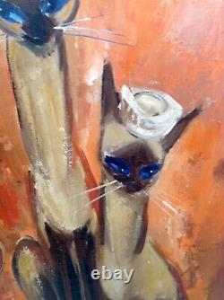 Listed Artiste Violet Parkhurst Framed Huile Sur Toile Chats Siamois Coiffés De Chapeaux R