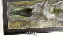 Livre De Chat En Bronze Art Déco Louis Riche France 1920 Original