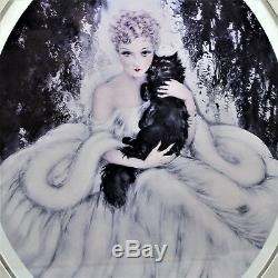 Louis Icart Sweet Mystery Encadrée Wall Art Femme Chat Persan Noir
