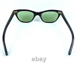 Lunettes De Soleil Vintage Pour Les Yeux De Chat Italie Made Art Deco 1950's Black Frame Verres Verts