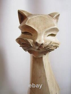 MCM Universal Statuary MID Century Art Deco Siamois Cat Cubiste Statue Sculpture
