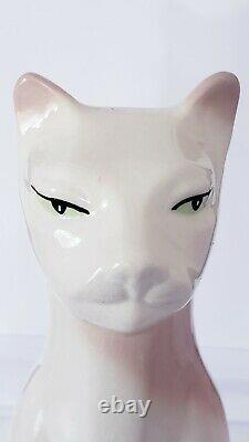 Magnifique Vintage Grand Art Déco Yeux Verts Siamois Cat Statue Figurale En Céramique
