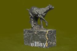 Main Jaguar Cat Collector Bronze Marbre Statue Bookend Art Déco Art