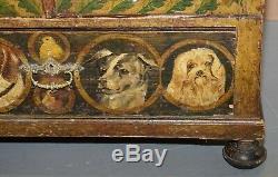 Main Très Rare Peint Autriche Vers 1820 Petit Linen Armoire Fermé Chiens Chats