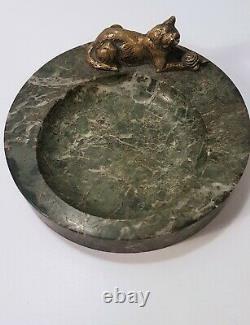 Marbre De Poche Vide Cendrier Orné D'un Cat Bronze Art Déco