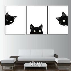 Mignon Animal De Chat Noir À La Recherche De 3 Pièces Toile Mur D'art Peinture Photo À La Maison