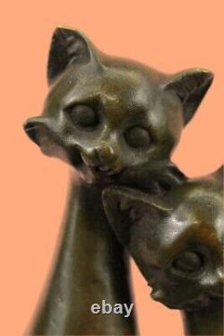 Miguel Lopez Signé Bronze Statue Sculpture Chat Art Déco Mi-siècle Hand Made
