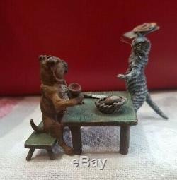 Miniature Bronze Autrichienne Cat Sert Chien Franz Bergman Geschützt Froid Painted
