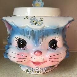Mlle Priss Bleu Cat Cookie Jar Lefton Japon 1502 Céramique 7 1/4 Grand Vintage