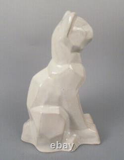 Moderniste Art Déco Shearwater Pottery Sculpture Cubist Cat Ceramic Figurine