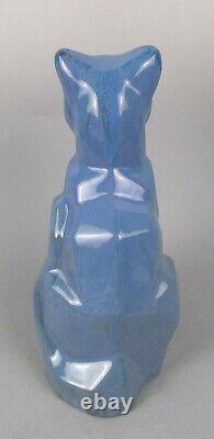 Moderniste Art Déco Shearwater Pottery Sculpture Cubist Cat Ceramic Figurine #2