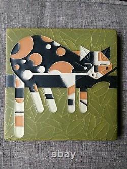 Motawi Tileworks Lazy Cat Calico Art Déco Vintage Tile 6x6