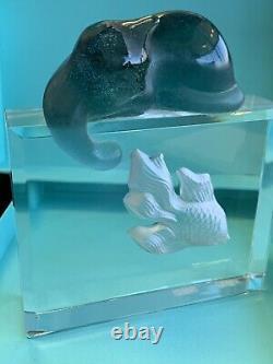 Nancy Daum Pate De Verre Cat On Aquarium Catching Koi Fish