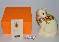 Nib Emaux De Longwy Designer Cat Statue Art Sandra Bregieras Romance Collection