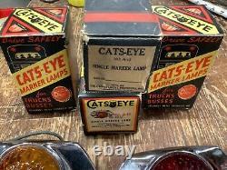 Nib Set 2 Ambre 2 Red Cats-eye Art Deco Marker Lampe Travel Trailer Ventage Camion