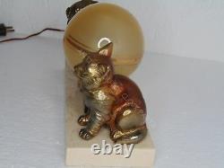 Nice Français Art Déco Light Dog And Cat