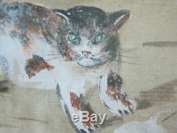 Nouveauté Chat Peint À La Main Antique Art Déco Peinture À L'huile Panier En Soie Ornée Français