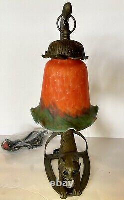 Nouvelle Lampe De Finition Antique Arquée De Chat Accroupie. Nouveau Dans La Boîte