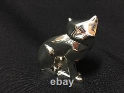 Nwt Christofle Rare Art Déco Silver Plate Sitting Cat Figurine Fs