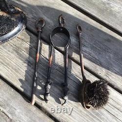 Old Vintage Antique Nestor Art Déco Cast Iron Black Cat Fireside Companion Set