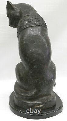 Original Art Déco Egyptian Cat Bronze Sculpture Marble Base Statue Grande