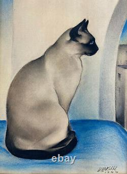 Otto Kolbe Art Déco Siamese Cat Mixed Media On Paper Signed, Dated 1944 Painting Otto Kolbe Art Déco Siamese Cat Mixed Media On Paper Signed, Dated 1944 Painting Otto Kolbe Art Déco Siamese Cat Mixed Media On Paper Signed, Dated 1944 Painting Otto Kolbe Art Déco