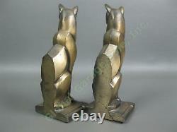 Paire Antique Art Déco Revival De Chat Égyptien En Bronze Bookend Set Frankart Era Egypte