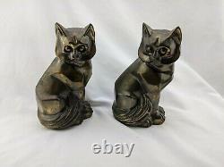 Paire D'art Déco Cubist Metal Cat Bookends Ocw 1929
