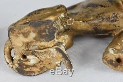 Paire D'art Déco Panthers, En Fonte Félins Rare (24cm X 9.5cm X 17cm)
