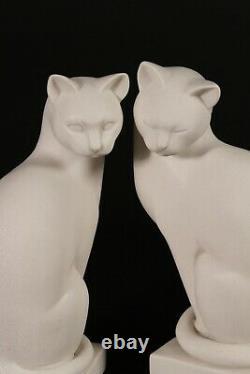 Paire De Chats De Marbre, Sculptures Classiques De Marbre, Art Déco, Cadeau, Ornement