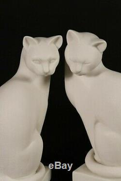 Paire De Contempory Marbre De Style Art Déco, Chats Sculpture Classique, Art, Cadeau
