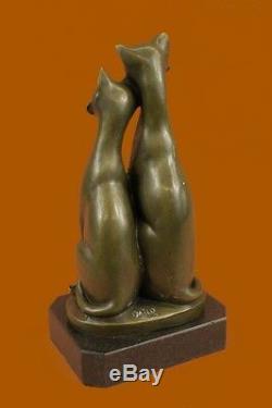 Paire De Harmony Slender Cats Animaux Bronze Sculpture Art Déco Marbre Base Figurine