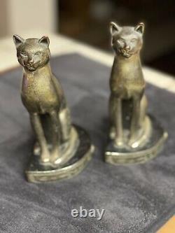 Paire De Pompeian Bronze Art Déco Sphinx Cat Bookends 1922