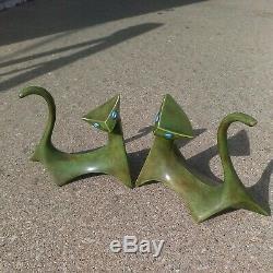 Paire Vert Vintage Art Déco Chat Céramique Figurine Cubiste Royale Dux