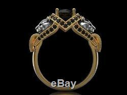 Panther 925 Bague Panthère Bague En Argent Sterling Big Black Cat Onyx Bague Meilleur Cadeau