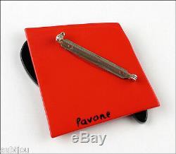 Pavone Figural Galalithe Rouge Noir Chat Chaton Animaux Broche Paris Art Déco