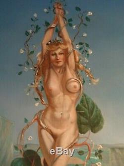 Peinture À L'huile Nue Style Mystique Vintage Art Deco Par Guy S Fairlamb