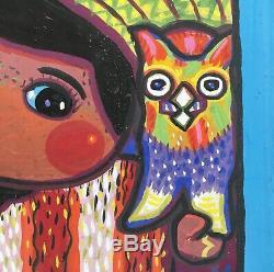Peinture Originale Gisella Loeffler, Little Girl & Cat Southwest Listed Artiste