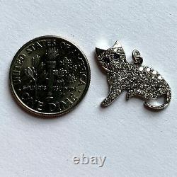 Pendentif Art Déco Cat Platinum White Diamond Blue Sapphire Charm
