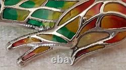 Plique Un Jour Sterling Argent & Rubis Vintage Art Déco Broche Chat Antique