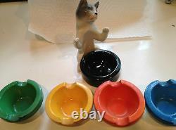 Porte-frêne Rare De Chat De Porcelaine Et 5 Cendriers-erphila-allemagne Art Déco Vintage