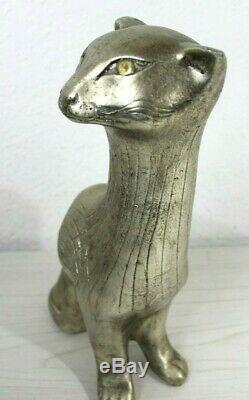 Poterie Rare Jaru Sculpture Chat Égyptien Milieu Du Siècle Moderne Métallique Art Déco